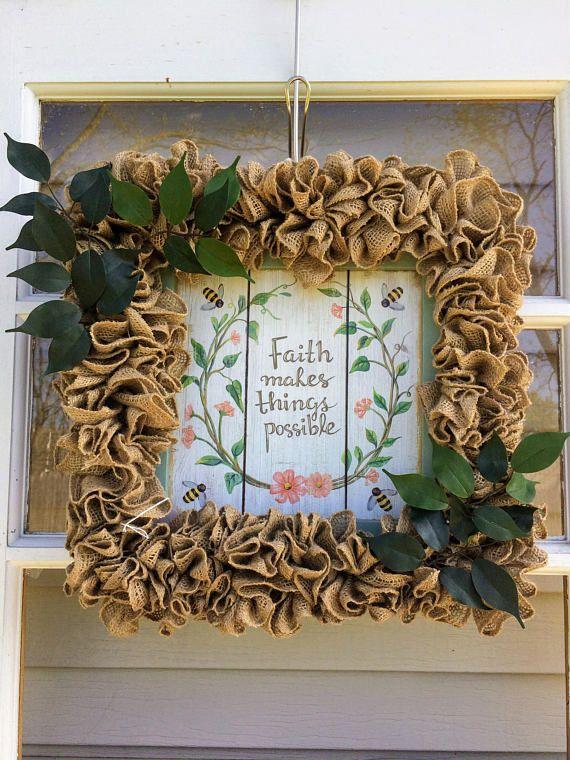 Ruffled Burlap Wreath  Burlap Wreath  Spring Burlap Wreath