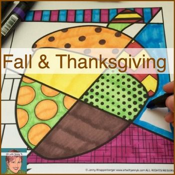 Cool Coloring Pages for Fall and Thanksgiving! #autumn From Art with Jenny K at TeachersPayTeachers.com