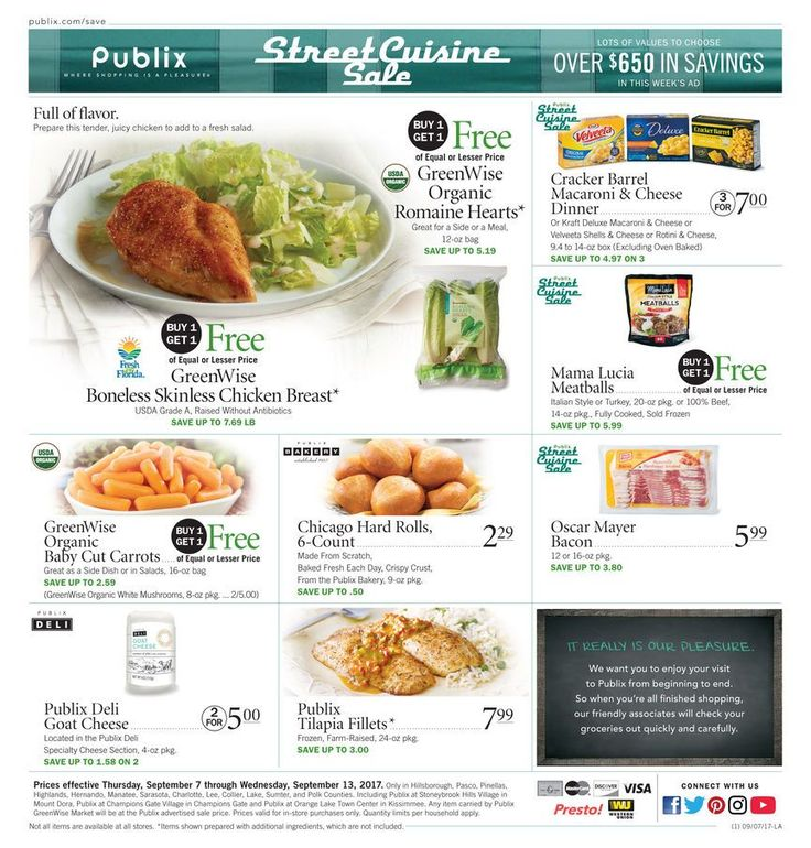 Publix Weekly Ad September 7 - 13 #food savings #Publix circular. Street cuisine sale. Over $650 in savings.