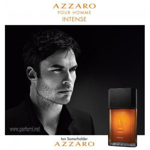 Класическия Azzaro Pour Homme аромат от 1978 представлява символ на съблазън, чувственост и италианска елегантност. През 2015 г., Azzaro представя ново по -интензивно издание #Azzaro #PourHommeIntense Eau de Parfum.  Според сведенията Това ново издание подчертава чувствеността, чар и изисканост с фини съставки и концентрация Eau де Parfum. Нейният ароматен - дървесен състав се отваря с акорди на Касия канела от Лаос. Ветивер от Хаити с неговите задимени, мокри и сухи, хладни и топли…