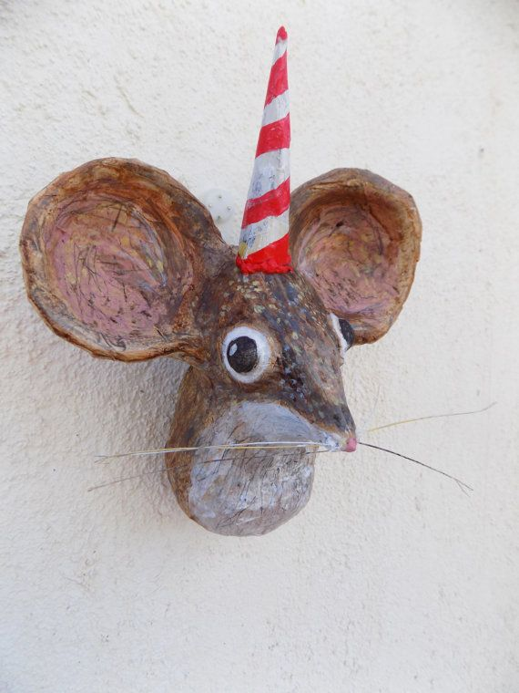 Paper Mache Little Birthday Mouse Animal Head Faux By