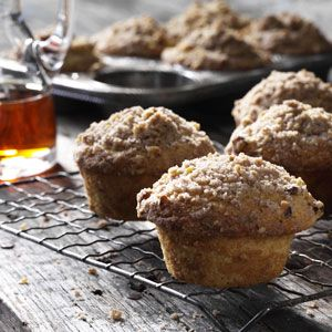 Morning Maple Muffins Recipe- Recipes  Maple combines with a subtle touch of cinnamon and nuts to give these muffins the flavor of a hearty pancake breakfast. But you don't have to sit down to enjoy them. Our 2-year-old comes back for seconds, and even my husband, who's not a muffin eater, likes these.
