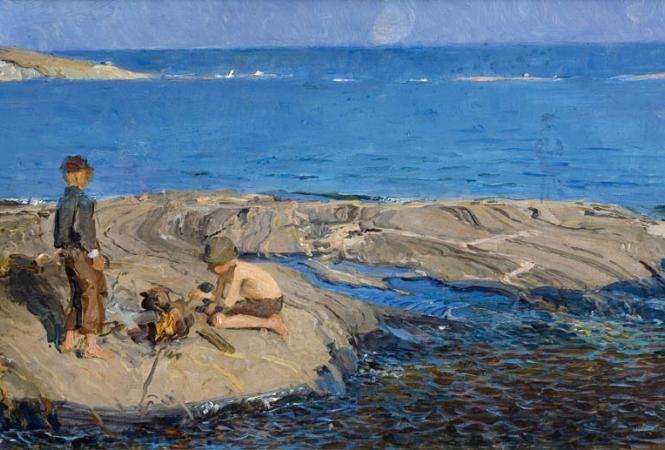 Venny Soldan-Brofeldt, 1863-1945 Pojat luodolla ( Porkkalasta), 1898 Boys islet (Porkkala)