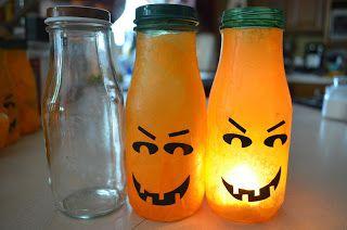 @Kathy Chan Chan Connett - ALSO cute little pumpkin guys!!!      216 Grant: Craft. Frappuccino bottle pumpkin votives.