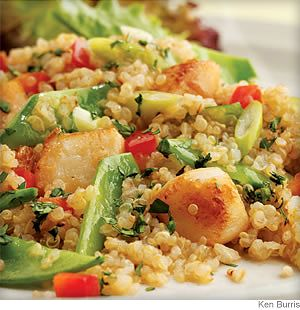 Toasted Quinoa Salad With Scallops and Snow Peas - Delicious with shrimp or chicken, too!