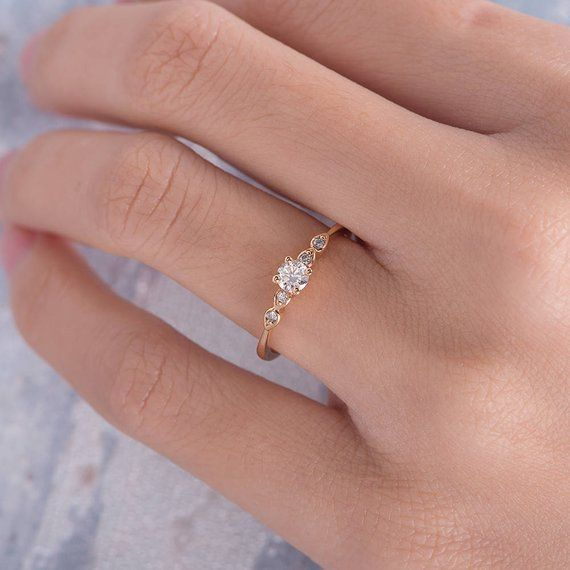 Diamond Engagement Ring Rose Gold Pave Retro Antique Thin Minimalist Anniversary Gift Birthstone Sim
