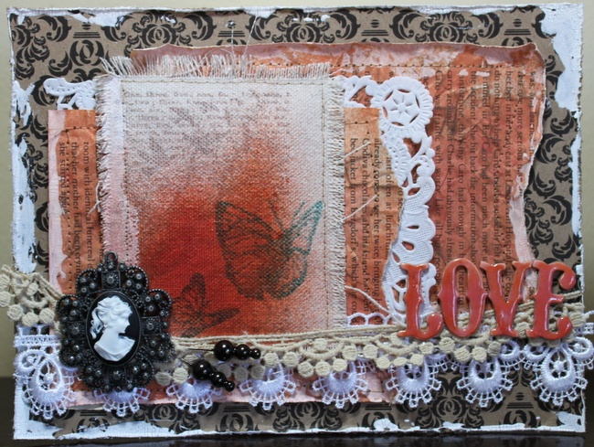 distressed card made for SNR