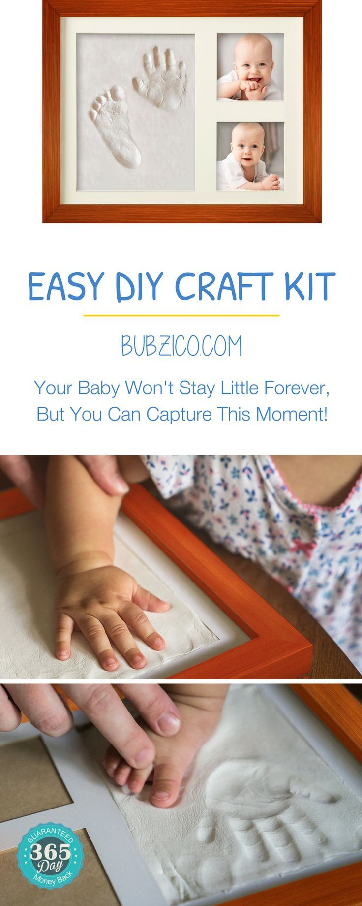 """These inexpensive non-toxic clay, custom keepsakes are a fun & easy DIY craft project for everyone! 1: knead the soft, non-toxic clay. 2: make the impression of baby's hand/foot. 3: add 2 cute baby photographs & you are done! Makes a meaningful & unique baby gift for grandparents & aunties. Awesome for the #christmasgifts, #showergift or baby's """"firsts"""". Shop #BubziCo personalized & sentimental keepsakes #NewBornPortraits 