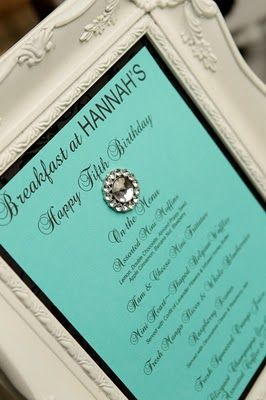 Breakfast At Tiffany's Birthday Party Theme - How many years do I have to wait until Olivia thinks this is cool??? Oh, I don't know if I will make it!!