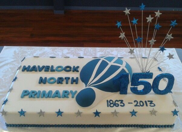 150th Jubilee #cake created by MJ www.mjscakes.co.nz in sunny Hawkes Bay NZ delivered to Havelock North Primary School