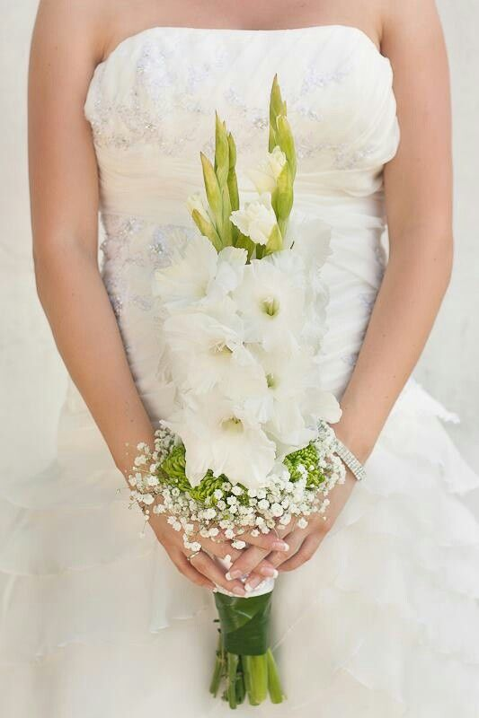 Very Unique Biedermeier Style Wedding Bouquet With White Gladiolus, Small Green Spider Mums, White Gypsophila + Green Foliage