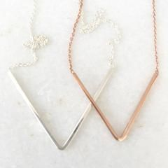 Cate Sterling Silver or Rose Gold V Necklace – Difilia by Design