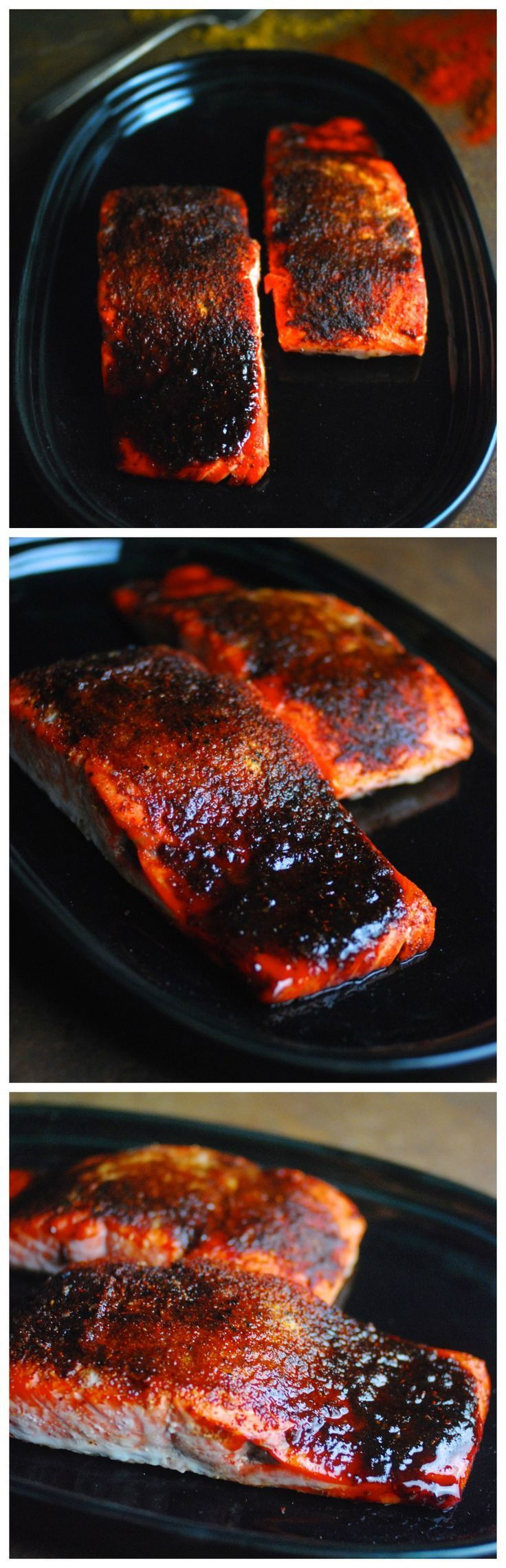 So good! Oven Roasted Maple BBQ Salmon - easy, protein-packed recipe ready in 25 minutes. Serve it atop fresh greens dressed with lemon juice. Paleo, gluten free.