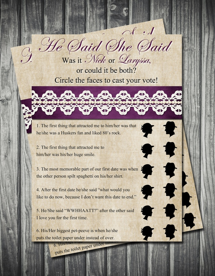 free printable bridal shower games how well do you know the bride%0A He Said She Said Bridal Shower Game