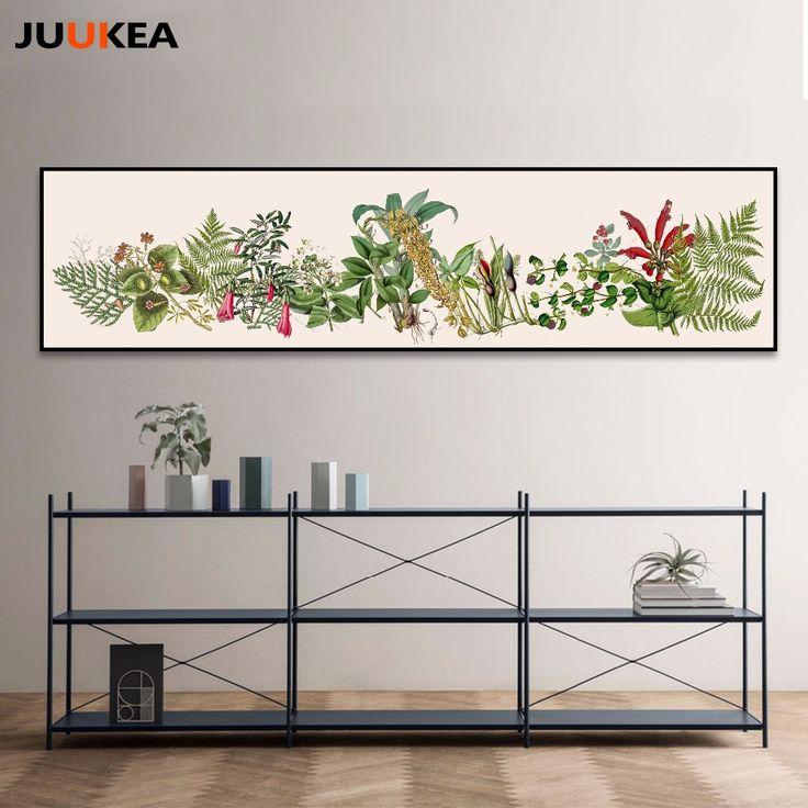 Оригинальный дизайн Nordic растения акварельной живописи, Печать на холсте Стены Фотографии современный Декор Для Гостиной Большой Размер Баннера купить на AliExpress