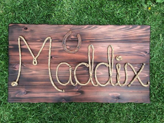 """32"""" Western wood rope name sign, western decor, baby shower gift,wedding gift,country western decorations,photo prop,cowboy theme nursery"""