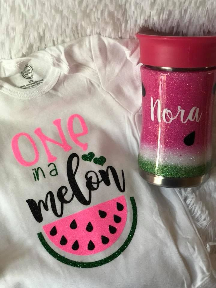 9fc4164b9 Watermelon One in a Melon onesie and sippy cup first birthday girl custom  onesie custom sippy cup