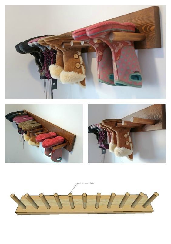 Hang boots on the wall! Dries faster, keeps the boots from slouching over, and saves space! Ana White | Build a Wall Boot Rack Plans | Free and Easy DIY Project and Furniture Plans