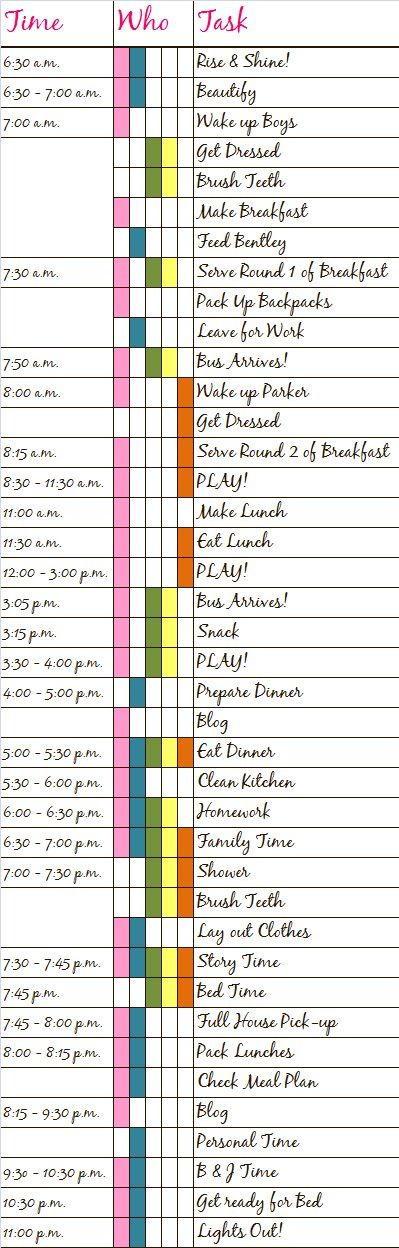Not sure I would want EVERY single second of my day on paper..too rigid!  LOL.  But this is an awesome find as I'm working on a generalized dailiy schedule for myself and my fam fam~~~~~Daily Schedule Ideas