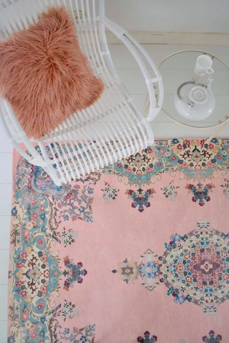 vintage look vloerkleed pastel kleuren 225cm x 155cm (70% wol, 30% polyester) Nog 6 op voorraad