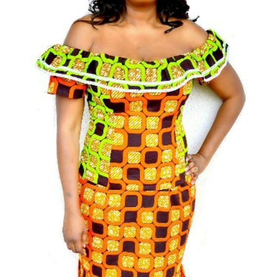 African Print Orange Off Shoulder Top - Zabba Designs African Clothing Store  - 1