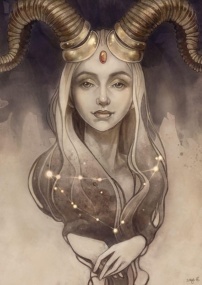 Capricorn zodiac portrait done by Sylvia Strijk (strijkdesign)