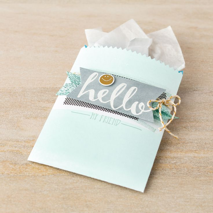 The Hello stamp set from the 2016 Sale-A-Bration brochure is perfect for making cards or sweet little gift packages! This gift bag was made with the Mini Treat Bag Thinlt.