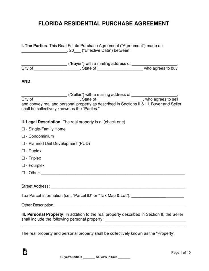 Free Florida Residential Purchase And Sale Agreement Word Pdf Eforms Free Fillable Form Real Estate Contract Purchase Agreement Residential Real Estate