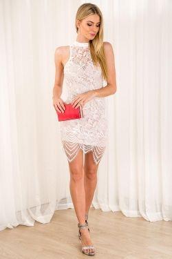 Almond Ice Cream Womens Lace Dress - White-SALE