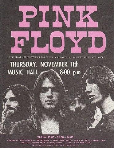 Un cartel orginal de un concierto de Pink Floyd en su época dorada. Compartida por el usuario de Facebook Pablo Hernández y tomada de la página de Facebook de Pink Floyd.