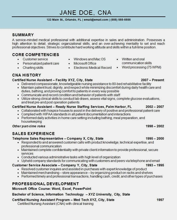 Professional Resume Example Instant Download 1 Page Resume Example For Ms Word Diy Resume Example Resume Examples Nursing Assistant Patient Care Assistant