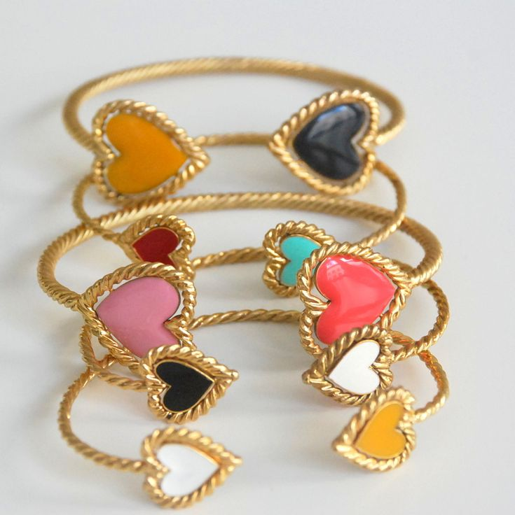 Ashley Duncan's heart banglesBling, Ashley Duncan, Fashion, Clothing, Heart Bracelets, Heart Bangles, Accessories, Cute Food Jewelry, Accessorizing
