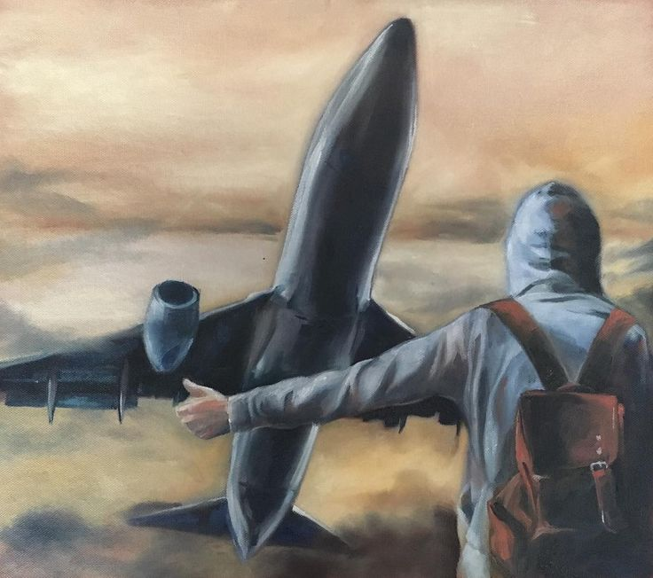 'hitch-hiker' oil on canvas sketch from this morning. #oilpainting#art#oiloncanvas#hitchhike#travel#contemporarypainting#collage#plane