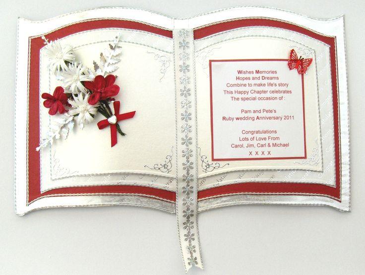 A Ruby wedding card made with keepsake craft board bookatrix