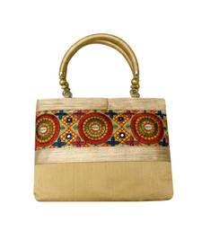 Buy Raw Silk Handbag with embroidered patch work (Gold) handbag online