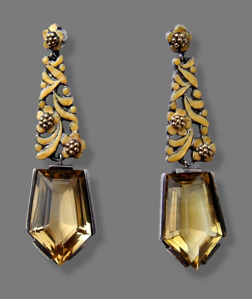 Earrings | Bernard Instone. Silver, enamel and citrine. ca. 1930, English.