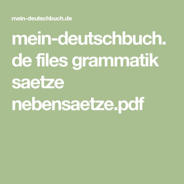 139 best Die Nebensätze images on Pinterest | German grammar ...