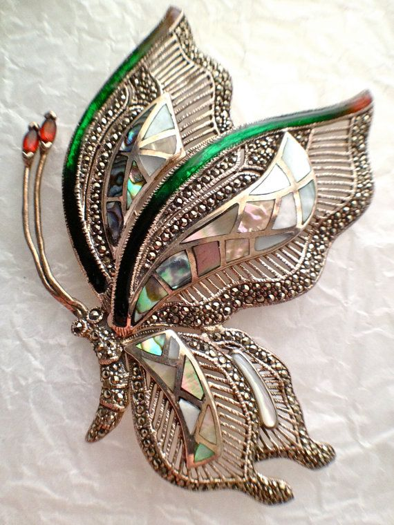 Vintage Gemstone Butterfly Statement Brooch Sterling by RareBeauty, $300.00