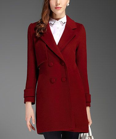 Look at this #zulilyfind! Wine Wool-Blend Peacoat #zulilyfinds