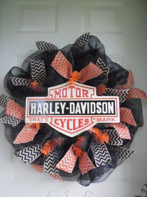 Harley Davidson Motor Cycles Black Mesh Wreath with Orange and Black Chevron Burlap Ribbon by TowerDoorDecor, $65.00