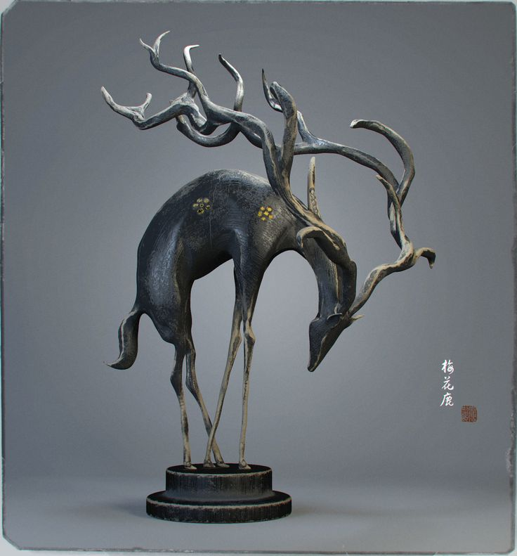 Sika deer wood carving, Aniraiden Wu on ArtStation at https://www.artstation.com/artwork/a8Bl2