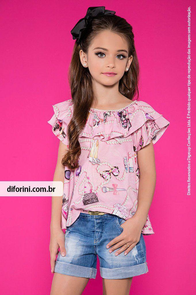 Conjunto Shorts e Blusa Diforini Moda Infanto Juvenil - Veja nosso novo produto! Se gostar, pode nos ajudar pinando-o em algum de seus painéis :)