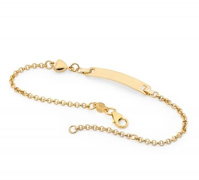 Piccolo Baby ID Bracelet - TINY HEART - 9ct Yellow Gold