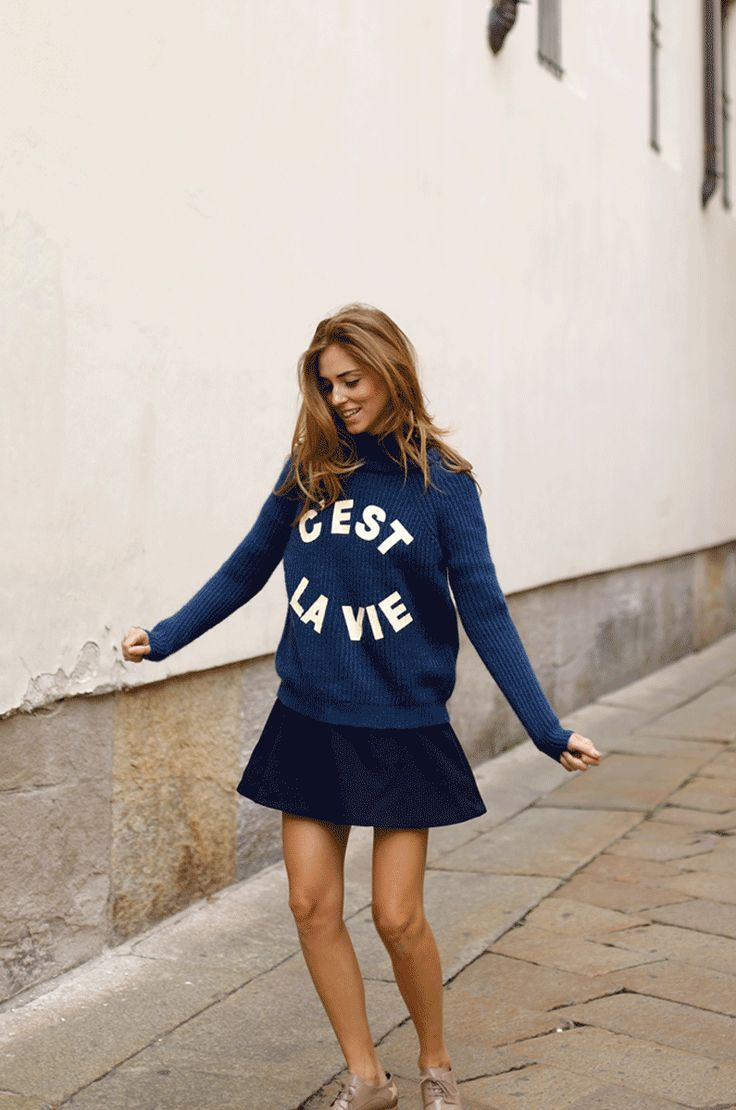Chiara Ferragni looked adorably Parisian chic in this graphic sweater and skirt.