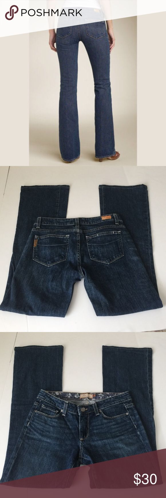 Paige Hollywood Hills Bootcut Jeans, size 27 Paige Hollywood Hills Bootcut Jeans in size 27. Flat lay measure of the waist is 14.75. Rise is 7.75, inseam is 31, and leg opening is 9.5. Made from 98% cotton and 2% spandex. Features factory fading and slight whiskering. In excellent condition, please ask if you have any questions. Paige Jeans Jeans Boot Cut