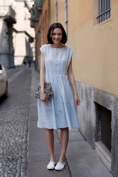 Love the romantic dress, just don't think I like the purse and it needs a knit sweater!