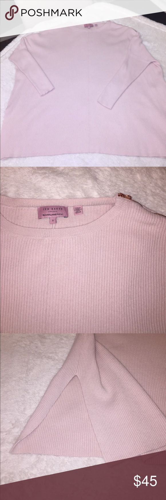Ted Baker oversized sweater. Rose gold zipper. Size S but this is a very oversized sweater. The sleeves are small and dolman type. Has a 9 inch split on each side at the hip. Light blush pink. Very cute with leggings and uggs! Ted Baker London Sweaters Crew & Scoop Necks