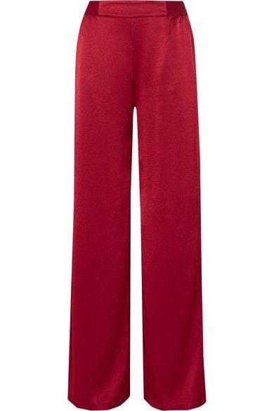 Alice Olivia - Racquel Satin Wide-leg Pants - Claret - US10