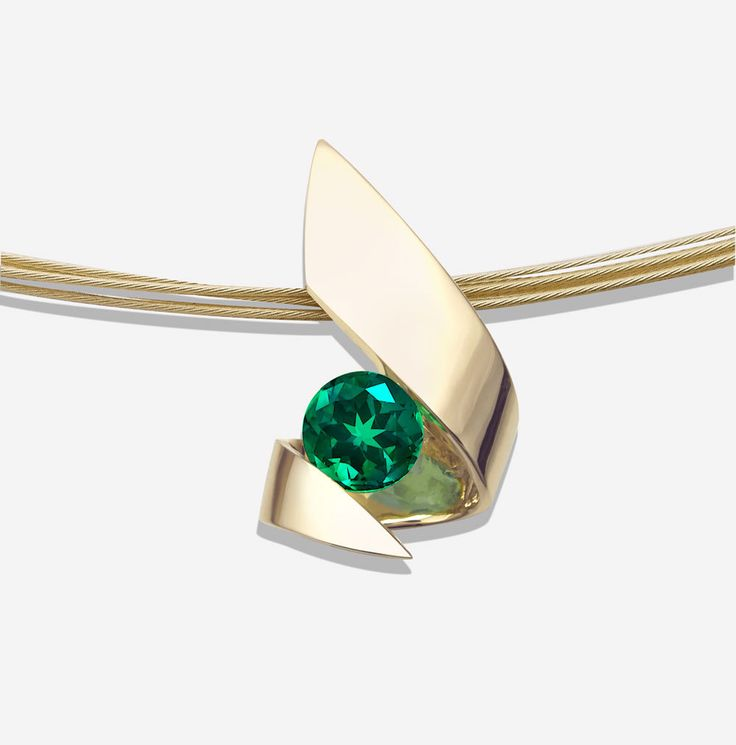 emerald necklace, gold pendant, 14k yellow gold, Christmas necklace, fine jewelry, green gemstone, artisan necklace, tension set stone  3440