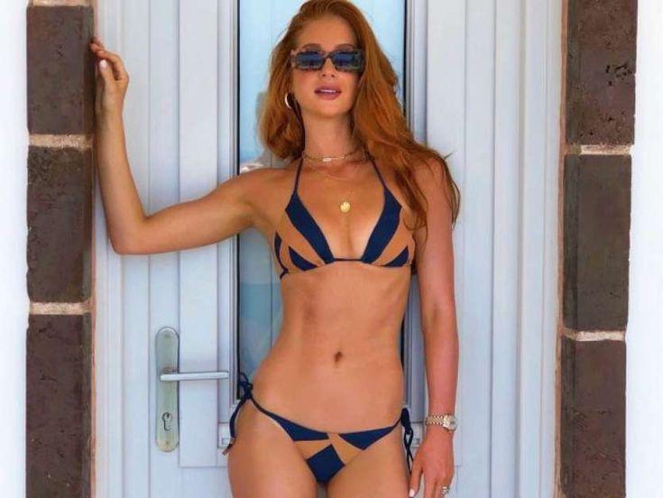 Na Grécia, Marina Ruy Barbosa elege biquíni cortininha ao curtir piscina. Fotos! | Biquini, Fotos de biquíni, Biquini cortininha